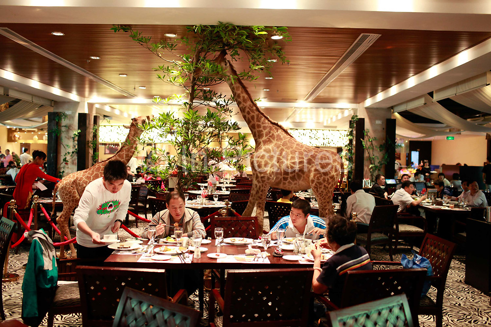 Tourists eat a buffet at a safari themed restaurant at an amusement park in Guangzhou, Guangdong Province, China, on November 13, 2011.