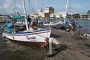 Conch fisher sailboat Belize City<br /> Swing Bridge<br /> Belize City<br /> Central America<br /> National Fishermen Producers Cooperative
