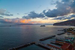 Sorrento, Italy, September 15 2017. Day breaks in Sorrento, Italy, illuminating cruise liners in the Bay of Naples. © Paul Davey