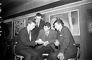 16/12/1965<br /> 12/16/1965<br /> 16 December 1965<br /> <br /> Group of the Cork Apprentices who received silver medals at the presentation held at the Building Centre in Dublin.<br /> <br /> (L-R) Patrick A. Hegarty(Plasterer); Tadgh Lynch(Carpenter); Francis Bennett & Gerald McCartny(Stonecutters)