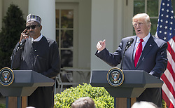 United States President Donald J. Trump conducts a joint press conference with President Muhammadu Buhari of Nigeria in the Rose Garden of the White House in Washington, DC on Monday, April 30, 2018. Photo by Ron Sachs/CNP/ABACAPRESS.COM