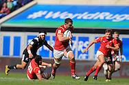 Harrison Keddie of Wales © runs in and scores a try late in the 2nd half. World Rugby U20 Championship 2016, 5th Place Semi Final, Match 22 ,New Zealand U20's  v Wales U20's at the Manchester city Academy Stadium in Manchester, Lancs on Monday 20th June 2016, pic by Andrew Orchard, Andrew Orchard sports photography.