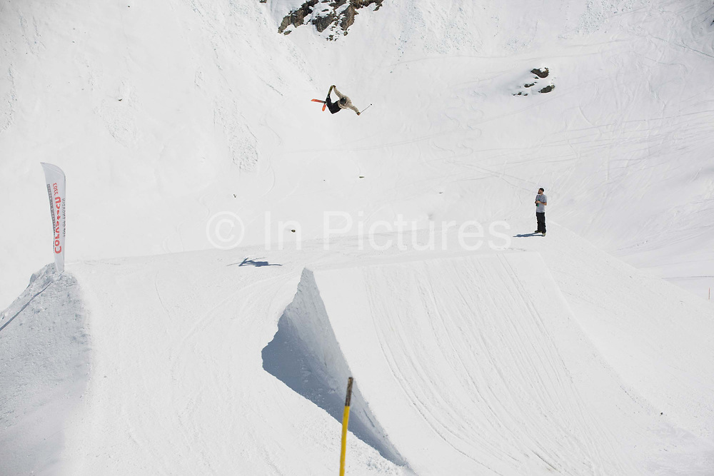 British freestyle skier Mike Rowlands during spring training on 05th May 2017 in Corvatsch, Switzerland. Piz Corvatsch is a mountain in the Bernina Range of the Alps, overlooking Lake Sils and Lake Silvaplana in the Engadin region of the canton of Graubünden.