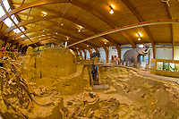 In-situ exhibit of 26,000 year old Wooly Mammoth bones, The Mammoth Site, Hot Springs, South Dakota USA