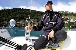 Francesco Bruni, ITA. On board Azzurra. St Moritz Match Race 2010. World Match Racing Tour. St Moritz, Switzerland. 31st August 2010. Photo: Ian Roman/Subzero Images.