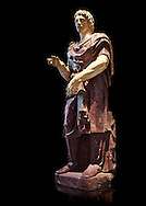 Statue of a Captive Barbarian - a 2nd century Ad Roman sculpture made in Porphyry and white marble from Rome, Italy. The head and hands do not belong to the statue. The head is wearing a hat Phyrigian hat and recalls the same style as the famous Farnese Prisoners statues who were defeated Dacians from the Forum of Trajan (98-117 AD). The statue was from the facade of the Villa Borghese. The Borghese Collection Inv No. MR 332 or Ma 1381, Louvre Museum, Paris..<br /> <br /> If you prefer to buy from our ALAMY STOCK LIBRARY page at https://www.alamy.com/portfolio/paul-williams-funkystock/greco-roman-sculptures.html- Type -    Louvre    - into LOWER SEARCH WITHIN GALLERY box - Refine search by adding a subject, place, background colour,etc.<br /> <br /> Visit our CLASSICAL WORLD HISTORIC SITES PHOTO COLLECTIONS for more photos to download or buy as wall art prints https://funkystock.photoshelter.com/gallery-collection/The-Romans-Art-Artefacts-Antiquities-Historic-Sites-Pictures-Images/C0000r2uLJJo9_s0c