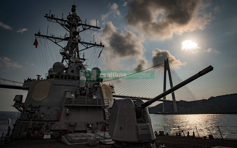 BOSPHORUS STRAIT (Aug. 27, 2018) The Arleigh Burke-class guided-missile destroyer USS Carney (DDG 64) transits the Bosphorus Strait, Aug. 27, 2018. Carney, forward-deployed to Rota, Spain, is on its fifth patrol in the U.S. 6th Fleet area of operations in support of regional allies and partners as well as U.S. national security interests in Europe and Africa. (U.S. Navy photo by Mass Communication Specialist 1st Class Ryan U. Kledzik/Released) 180827-N-UY653-030