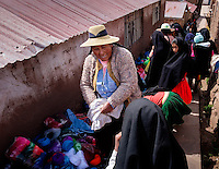 TAQUILE, PERU - CIRCA OCTOBER 2015:  Local market in the Island of Taquile in Lake Titicaca.