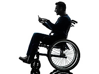 one handicapped man in silhouette studio on white background