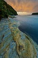 Oceania, New Zealand, Aotearoa, North Island, Tongapurutu, coast at sunset north of the White Cliffs