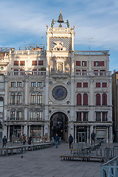 A view of St Mark's Clocktower in Venice. From a series of travel photos in Italy. Photo date: Tuesday, February 12, 2019. Photo credit should read: Richard Gray/EMPICS