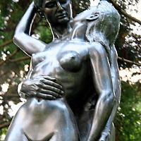 Asia, Japan, Hakone. Bronze figures at the Hakone Open Air Museum. (soft focus)