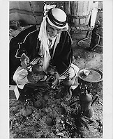 Bedouin making me coffee<br /> in the Negev desert, Israel
