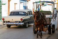 Street scene, classic car, horse and buggy, bicycle, Tridad, Cuba 2020 from Santiago to Havana, and in between.  Santiago, Baracoa, Guantanamo, Holguin, Las Tunas, Camaguey, Santi Spiritus, Trinidad, Santa Clara, Cienfuegos, Matanzas, Havana