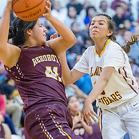 Rehoboth Lynx Kennedi Chapman (41), left, holds off Tohatchi Cougar Krystal Benally (3) on the baseline at Tohatchi High School Saturday.