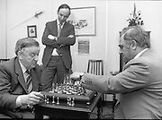 Chess Grand Masters, Clerys,Dublin 1, Ireland.1982.06.05.1982.05.06.1982.6th May 1982.USSR Chess Grandmaster visits Clerys. Mr Yefim Geller made a personal appearance in Clerys. Clerys sponsored the visit in conjunction with the Irish Chess Union, in agreement with the Russian Chess Federation...As Mr Geller plays against Mr Arthur Walls (CEO Clerys) they are watched by Mr Denis Ryan (Co Secretary)