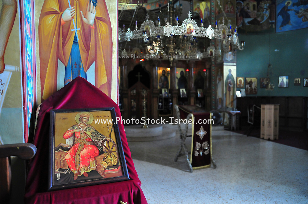 Israel, Capernaum by the Sea of Galilee, Interior of the Greek Orthodox Church of the Twelve Apostles