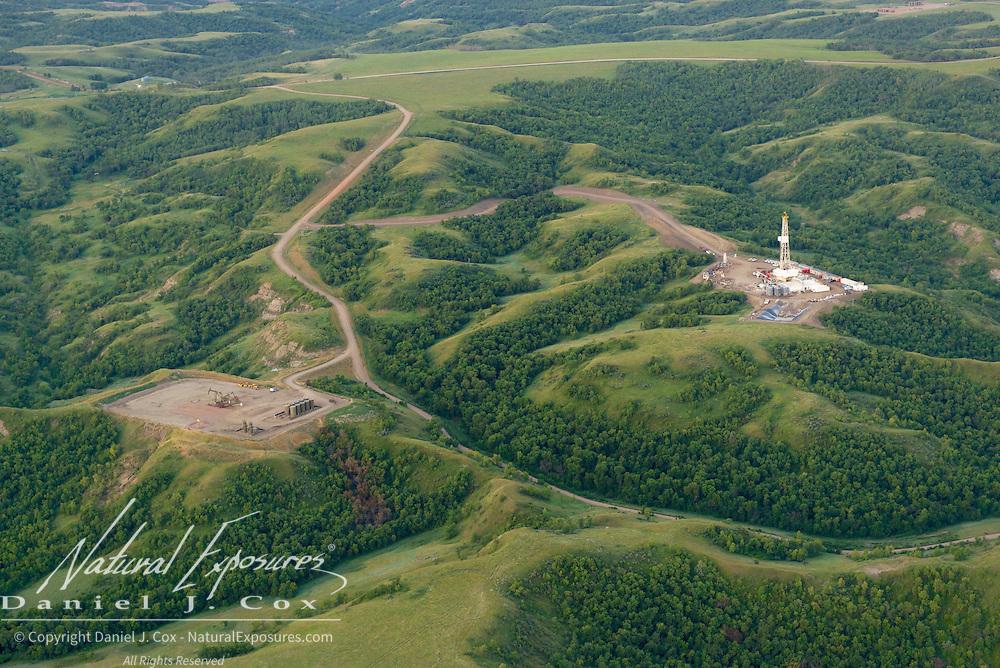 An oil drill rig in the Bakken Formation of North Dakota.