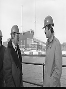 Tanaiste,Dick Spring,Visits Moneypoint..1984..23.11.1984..11.23.1984..23rd November 1984..The Tanaiste and Minister for Energy,Mr Dick Spring,visited Moneypoint Generating Station,Co Clare. He visited the site to view the progress of work there...Picture of the Tanaiste, Mr Dick Spring TD,in conversation with Mr P.J.Moriarty, Chief Executive Officer,ESB about the generating station.