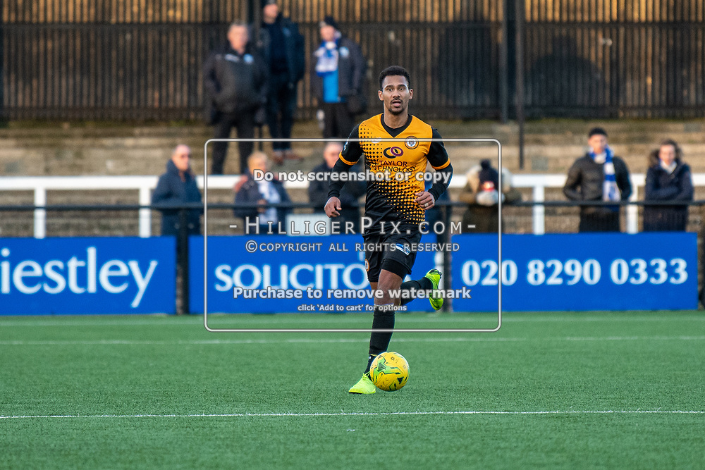 BROMLEY, UK - JANUARY 04: Mitchell Nelson, of Cray Wanderers FC, during the BetVictor Isthmian Premier League match between Cray Wanderers and Wingate & Finchley at Hayes Lane on January 4, 2020 in Bromley, UK. <br /> (Photo: Jon Hilliger)