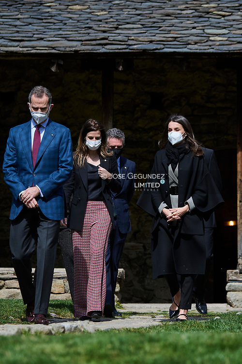 King Felipe VI of Spain, Queen Letizia of Spain attend Cultural visit to the 'Espai Columba' and Museum with the installation of rehabilitated pre-Romanesque frescoes during 2 day State visit to Principality of Andorra at Church of Santa Coloma d'Andorra on March 26, 2021 in Andorra la Vella, Principality of Andorra