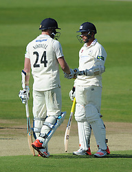 Liam Norwell of Gloucestershire and Matt Taylor of Gloucestershire - Photo mandatory by-line: Dougie Allward/JMP - Mobile: 07966 386802 - 08/06/2015 - SPORT - Football - Bristol - County Ground - Gloucestershire Cricket v Lancashire Cricket Day 2 - LV= County Championship