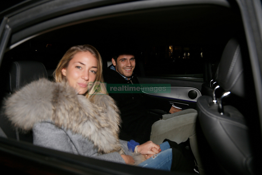 EXCLUSIVE: Chelsea Football Club footballer Alvaro Morata and his wife Alice Campello were seen leaving the Street XO restaurant in London, after enjoying together the celebration of the Chelsea Futbol Club footballer's birthday in the early hours of October 24, 2017 in London , England. 24 Oct 2017 Pictured: Alvaro Morata and Alice Campello. Photo credit: Elkin Cabarcas/FDA Media & Films / MEGA TheMegaAgency.com +1 888 505 6342