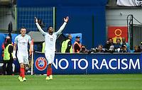 GOAL CELEBRATION - England's Daniel Sturridge celebrates scoring his sides second goal <br /> <br /> Photographer Kevin Barnes/CameraSport<br /> <br /> International Football - 2016 UEFA European Championship - Group B - England v Wales - Thursday, 16th June 2016 - Stade Bollaert-Delelis, Lens Agglo, France<br /> <br /> World Copyright © 2016 CameraSport. All rights reserved. 43 Linden Ave. Countesthorpe. Leicester. England. LE8 5PG - Tel: +44 (0) 116 277 4147 - admin@camerasport.com - www.camerasport.com