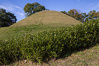 Takamatsuzuka Tumulus Burial Mound - There are many burial mounds in the Asuka Historical National Park and surrounding areas. Colored murals were discovered here in 1972.  The tumulus itself is a special historic site and the four-colored murals are national treasures. <br /> The burial facility is a stone chamber containing a sarcophagus with an opening facing south. The walls, ceiling and floor inside the stone chamber are coated with plaster, and murals are painted on the east, west and north walls, as well as the ceiling. <br /> The discovery of the murals in 1972 influenced Japanese archaeology, ancient history and art history.  Although the original murals are not available for public viewing, replicas are displayed in the Takarazuka Mural Hall next to the burial mound.