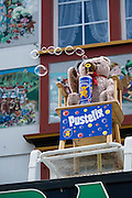 An animated stuffed bear blows bubbles at Bazar Hersche, Appenzell village, Switzerland. Appenzell Innerrhoden is Switzerland's most traditional and smallest-population canton (second smallest by area).