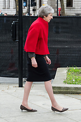 © Licensed to London News Pictures. 24/04/2018. London, UK. © Licensed to London News Pictures. 24/04/2018. London, UK. British Prime Minister THERESA MAY<br /> attends the statue unveiling of the Suffragist leader Millicent Fawcett in Parliament Square. The Mayor of London commissioned Turner prize-winning artist GILLIAN WEARING OBE to create the statue. Photo credit: Ray Tang/LNP