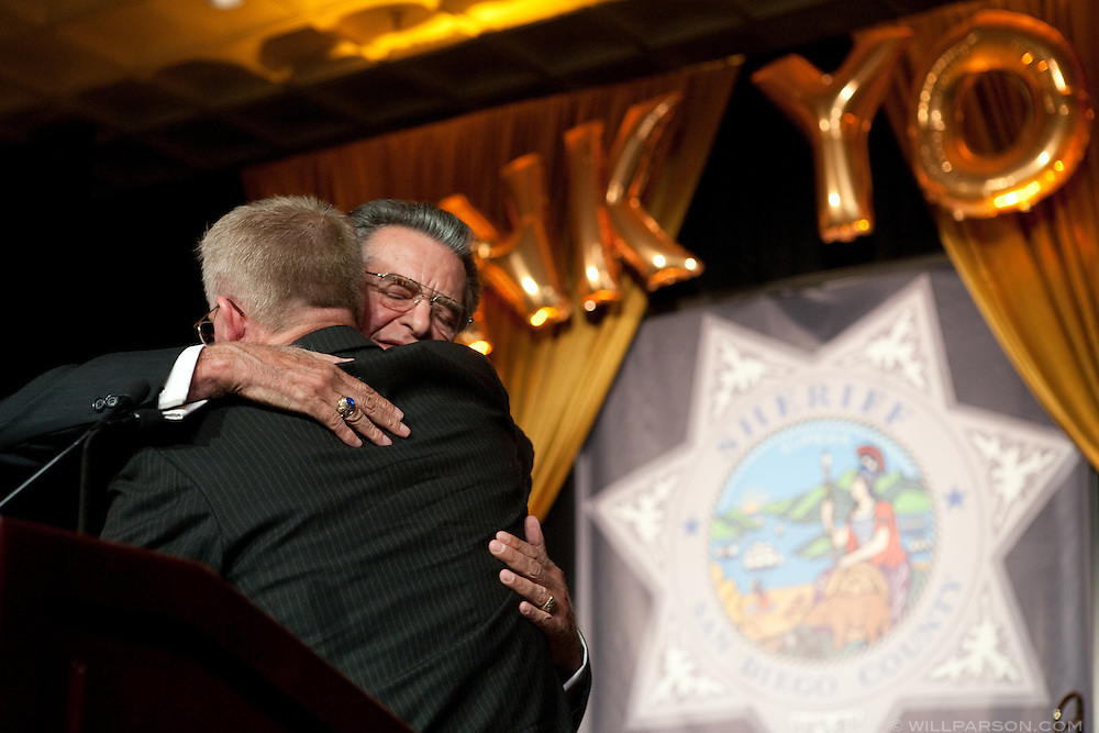 Tehama County Sheriff Clay Parker hugs Kolender