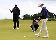 Neil Manchip, Shane Lowry and Jack Hume with the GUI National panel players who are taking part in the Walker cup next week practicing with Neil Manchip and Tony Goode at Portmarnock on Wednesday 2nd September 2015.<br /> Picture:  Thos Caffrey / www.golffile.ie