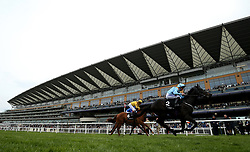 Ventura Rebel ridden by jockey Paul Hanagan winning the Irish Thoroughbred Marketing Royal Ascot Two-Year-Old Trial Conditions Stakes during Royal Ascot Trials Day at Ascot Racecourse.