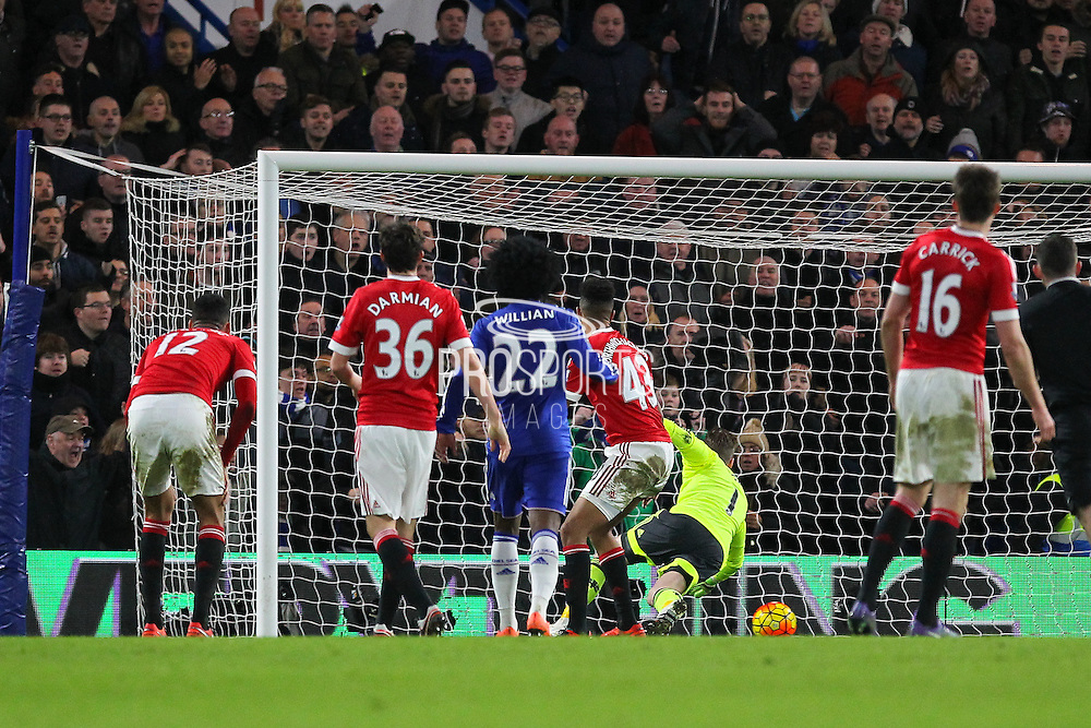 Chelsea's Diego Costa scores the equaliser 1-1 and David De Gea of Manchester United is beaten during the Barclays Premier League match between Chelsea and Manchester United at Stamford Bridge, London, England on 7 February 2016. Photo by Phil Duncan.