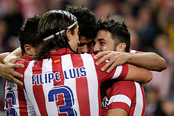 27.10.2013, Estadio Vicente Calderon, Madrid, ESP, Primera Division, Atletico Madrid vs Real Betis, 10. Runde, im Bild Atletico de Madrid's David Villa (R) celebrates, goal // Atletico de Madrid's David Villa (R) celebrates, goal during the Spanish Primera Division 10th round match between Club Atletico de Madrid and Real Betis at the Estadio Vicente Calderon in Madrid, Spain on 2013/10/28. EXPA Pictures © 2013, PhotoCredit: EXPA/ Alterphotos/ Victor Blanco<br /> <br /> *****ATTENTION - OUT of ESP, SUI*****