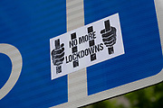 No more lockdowns protest sticker on 26th May 2021 in London, United Kingdom. As the coronavirus lockdown continues its process of easing restrictions, people, especially those who have been vaccinated are becoming more likely to be against further lockdowns.