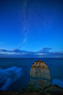 Australia, Victoria, Port Campbell National Park, milky way over the Apostles