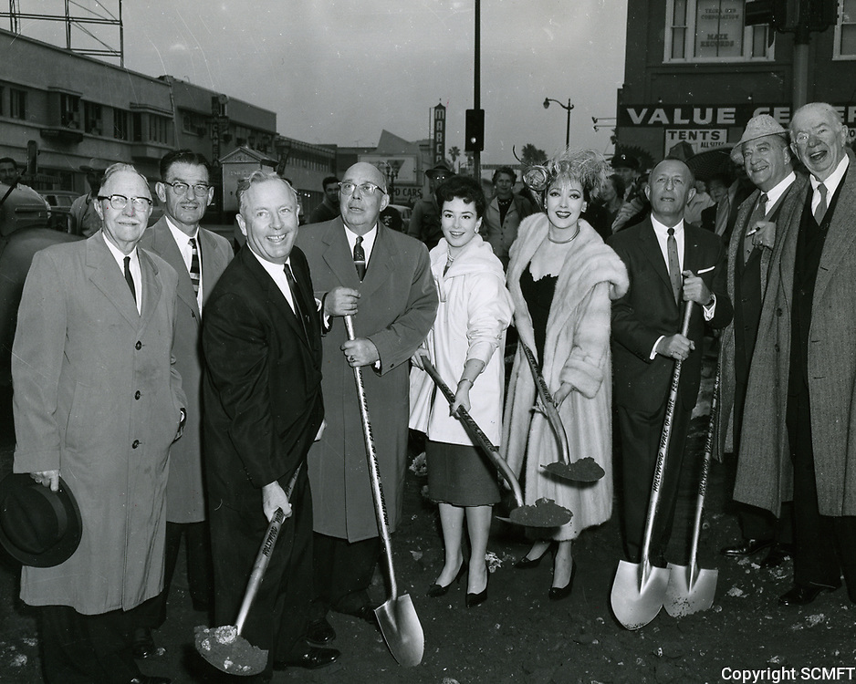 1960 Actors Gigi Perreau, Linda Darnell, Francis Bushman, and Charles Colburn join civic leaders during the official groundbreaking ceremony for the Hollywood Walk of Fame
