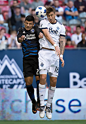 May 16, 2018 - Vancouver, Canada - NICK LAMA (L) of the San Jose Earthquakes and JOSE AJA of the Vancouver Whitecaps compete for the ball during the regular season of MLS match at BC Place in Vancouver, Canada. (Credit Image: © Andrew Soong/Xinhua via ZUMA Wire)
