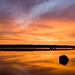 The Deer Isle bridge at sunrise in Little Deer Isle, Maine.