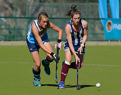 Griet van Jaarsveld of Bloemhof(stripes) and Michelle Tullis of Springfield during day one of the FNB Private Wealth Super 12 Hockey Tournament held at Oranje Meisieskool in Bloemfontein, South Africa on the 6th August 2016<br /> <br /> Photo by:   Frikkie Kapp / Real Time Images