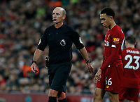 Football - 2019 / 2020 Premier League - Liverpool vs. Everton<br /> <br /> Referee Mike Dean speaks to Trent Alexander-Arnold of Liverpool, at Anfield.<br /> <br /> COLORSPORT/ALAN MARTIN