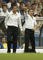 Photo: Aidan Ellis.<br /> Leeds United v Hartlepool United. Coca Cola League 1. 08/09/2007.<br /> Leeds management duo Dennis Wise and Gustavo Poyet encourage there team