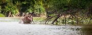 An Embera family traveling on the Rio Sambu, Panama.