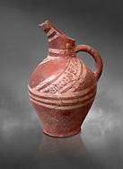 Early Minoan decorated clay jugs ,  Michlos Cemetery 2600-1900 BC BC, Heraklion Archaeological  Museum, grey background. .<br /> <br /> If you prefer to buy from our ALAMY PHOTO LIBRARY  Collection visit : https://www.alamy.com/portfolio/paul-williams-funkystock/minoan-art-artefacts.html . Type -   Heraklion   - into the LOWER SEARCH WITHIN GALLERY box. Refine search by adding background colour, place, museum etc<br /> <br /> Visit our MINOAN ART PHOTO COLLECTIONS for more photos to download  as wall art prints https://funkystock.photoshelter.com/gallery-collection/Ancient-Minoans-Art-Artefacts-Antiquities-Historic-Places-Pictures-Images-of/C0000ricT2SU_M9w