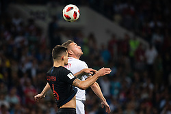 July 11, 2018 - Moscow, Russia - 180711 Jamie Vardy of England and Dejan Lovren of Croatia competes for the ball during the FIFA World Cup semi final match between Croatia and England on July 11, 2018 in Moscow..Photo: Petter Arvidson / BILDBYRÃ…N / kod PA / 92085 (Credit Image: © Petter Arvidson/Bildbyran via ZUMA Press)
