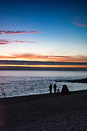 Sky at sunset across the sea in Hampshire in England