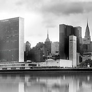 New York, U.S, N.Y.C: Exterior view of headquarters of the United Nations Buildings. The complex was designed by an international team of 11 architects, led by Wallace K. Harrison from the United States, with the final proposal being a combination between Oscar Niemeyer and Le Corbusier's designs. Photographs by Alejandro Sala   Visit Shop Images to purchase and download a digital file and explore other Alejandro-Sala images…