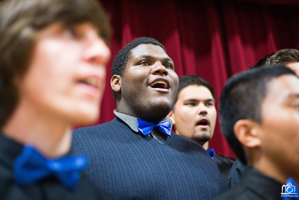 The Milpitas High School Glee Club performs the National Anthem during the Milpitas State of the City Address at the Milpitas Community Center in Milpitas, California, on May 30, 2013. (Stan Olszewski/SOSKIphoto)
